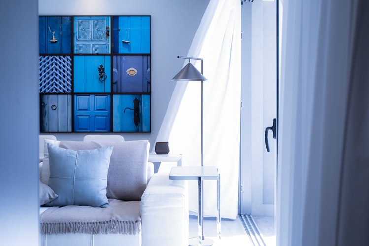 white sofa and lamp
