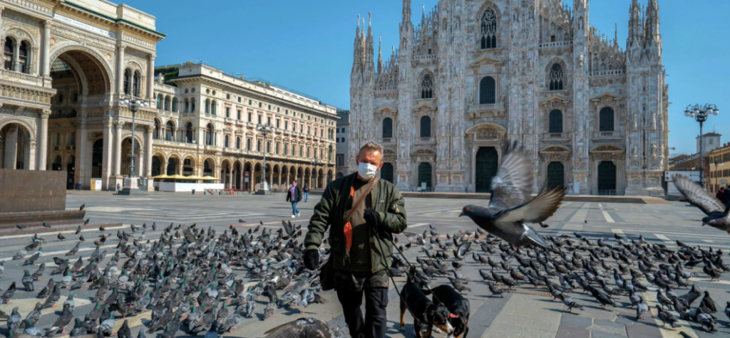 Man cautious of coronavirus in Milan.